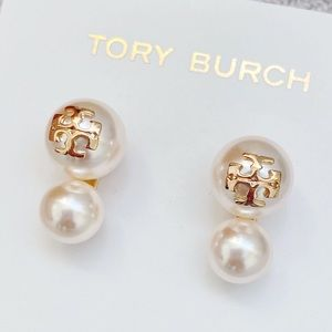 NWT Tory Burch Crystal Pearl Double Stud Earring